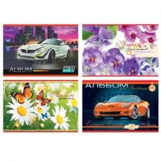 """Альбом для рисования, А4, 40 листов, скоба, обложка офсет, АППЛИКА, 202х285 мм, """"Автомобили/Цветы"""", С1184"""