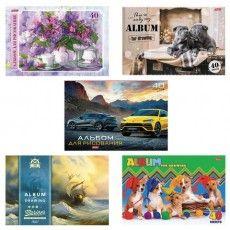 """Альбом для рисования, А4, 40 листов, скоба, обложка картон, HATBER, 205х290 мм, """"Ассорти"""", 40А4В, A274149"""