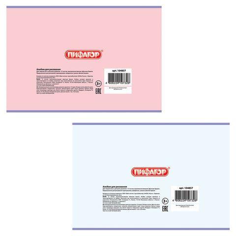 """Альбом для рисования, А4, 12 л., скоба, обложка офсет, ПИФАГОР, 200х285 мм, """"Цветочки"""" (2 вида), 104857"""