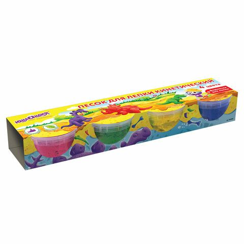 Песок для лепки кинетический ЮНЛАНДИЯ, 4 цвета, 560 г, формочка, картонный рукав, 104990