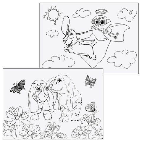 """Альбом для рисования, А4, 12 листов, скоба, обложка картон, с раскраской, ЮНЛАНДИЯ, 200х283 мм, """"Собачки"""" (2 вида), 105043"""