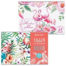 "Альбом для рисования А4 24 листа, скоба, выборочный лак, BRAUBERG, 202х285 мм, ""Фламинго"" (2 вида), 105059"