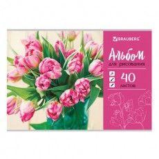 """Альбом для рисования А4 40 листов, скоба, обложка картон, BRAUBERG """"ЭКО"""", 202х285 мм, """"Тюльпаны"""" (1 вид), 105088"""