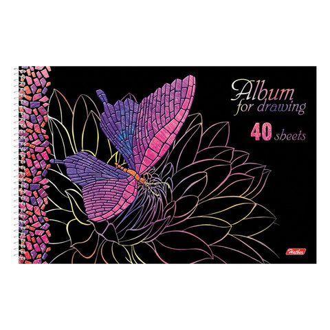 """Альбом для рисования А4, 40 листов, спираль, 3D фольга и 3D лак, HATBER, 205х300 мм, """"Мозаика"""" (5 видов), 40А4лофлВсп"""