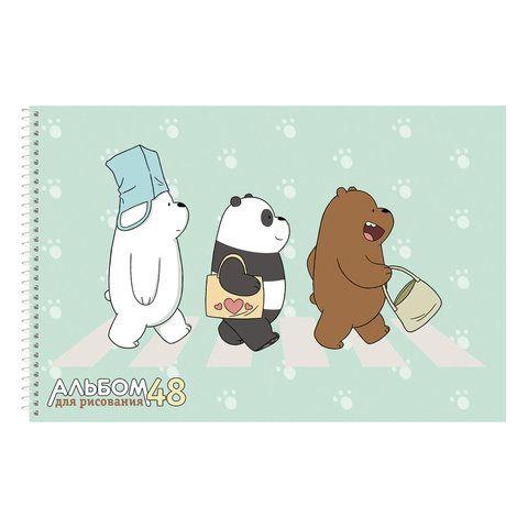 """Альбом ддя рисования, А4, 48 листов, спираль, обложка картон, HATBER, 205х300 мм, """"Вся правда о медведях"""" (5),48А4Всп"""
