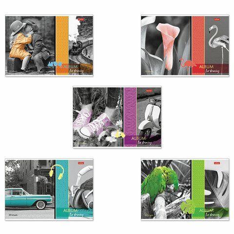 """Альбом для рисования А4 20 л., скоба, обложка картон, HATBER, 205х290 мм, """"Изысканность цвета"""", 20А4В"""
