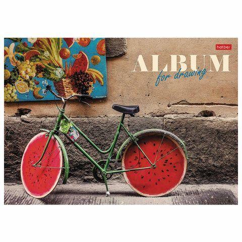 """Альбом для рисования А4 24 л., склейка, ламинация, подложка, HATBER, 205х290 мм, """"Лето на велосипеде"""", 24А4лВк, 24А4лВк_22784"""