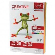 Бумага цветная CREATIVE color, А4, 80 г/м2, 100 л., (5 цветов х 20 л.), микс интенсив, БИpr-100r