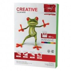 Бумага цветная CREATIVE color, А4, 80 г/м2, 100 л., интенсив зеленая, БИpr-100з