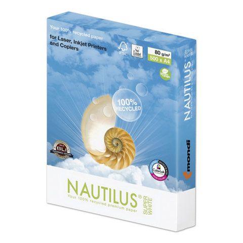 Бумага офисная А4, 80 г/м2, 500 л., марка А, NAUTILUS SUPER WHITE, RECYCLED, 150% (CIE)
