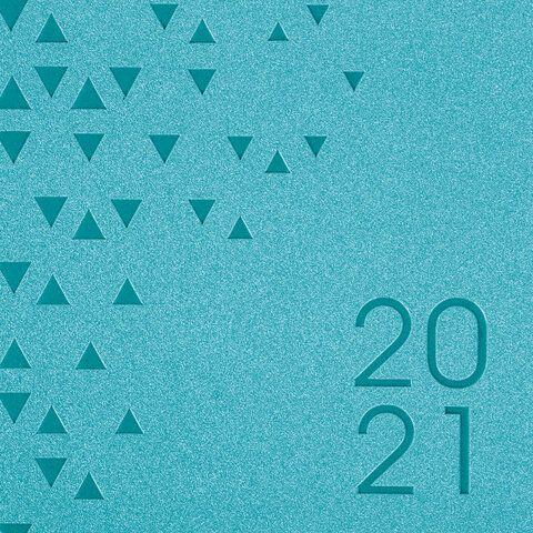 "Ежедневник датированный 2021 А5 (138х213 мм) BRAUBERG ""Glance"", кожзам, бирюзовый, 111476"