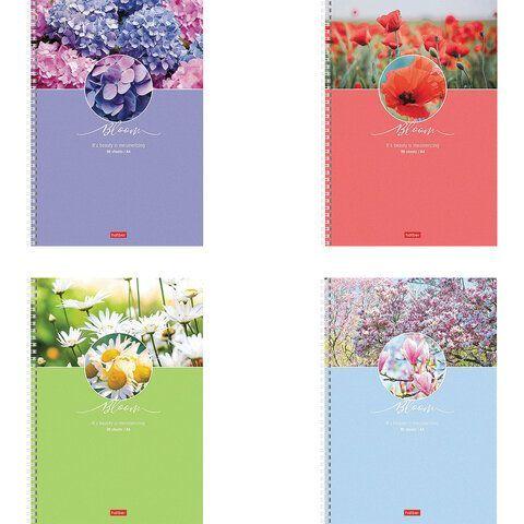"""Тетрадь А4 96 л. HATBER гребень, клетка, обложка картон, """"Красота цветения"""" (4 вида в спайке), 96Т4В1гр"""