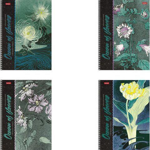 """Тетрадь А4, 80 л., HATBER, гребень, клетка, обложка картон, """"Океан цветов"""" (4 вида), 80Т4В1гр"""