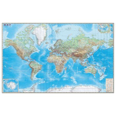 """Карта настенная """"Мир. Обзорная карта. Физическая с границами"""", М-1:15 млн., разм. 192х140 см, ламинированная, 293"""