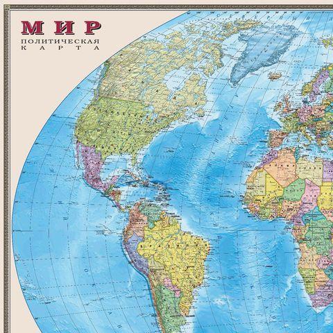 """Карта настенная """"Мир. Политическая карта"""", М-1:20 млн., размер 156х101 см, ламинированная, 634, 295"""