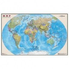 """Карта настенная """"Мир. Политическая карта"""", М-1:25 млн., размер 122х79 см, ламинированная, 3"""