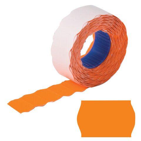 Этикет-лента 22х12 мм, волна, оранжевая, комплект 5 рулонов по 800 шт., BRAUBERG, 123574