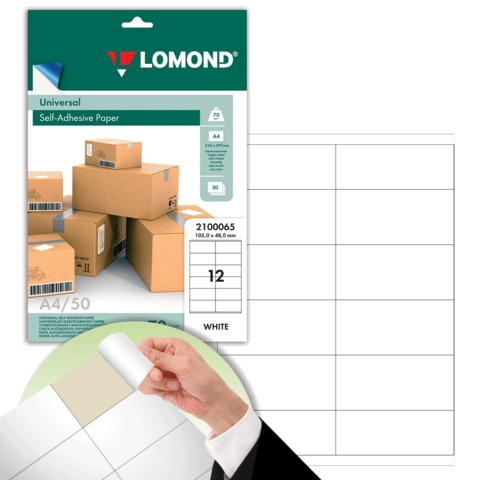 Этикетка самоклеящаяся 105х48 мм, 12 этикеток, белая, 70 г/м2, 50 листов, LOMOND, 2100065