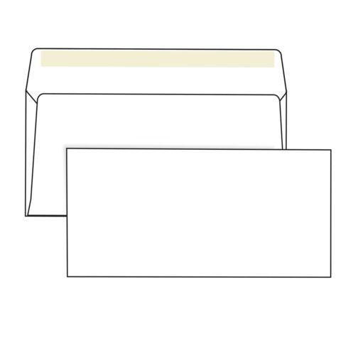 Конверты Е65 (110х220 мм), клей, 80 г/м2, КОМПЛЕКТ 1000 шт.
