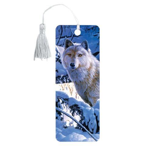 """Закладка для книг 3D, BRAUBERG, объемная, """"Белый волк"""", с декоративным шнурком-завязкой, 125752"""