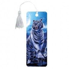 "Закладка для книг 3D, BRAUBERG, объемная, ""Белый тигр"", с декоративным шнурком-завязкой, 125754"