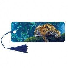 "Закладка для книг 3D, BRAUBERG, объемная, ""Леопард"", с декоративным шнурком-завязкой, 125766"