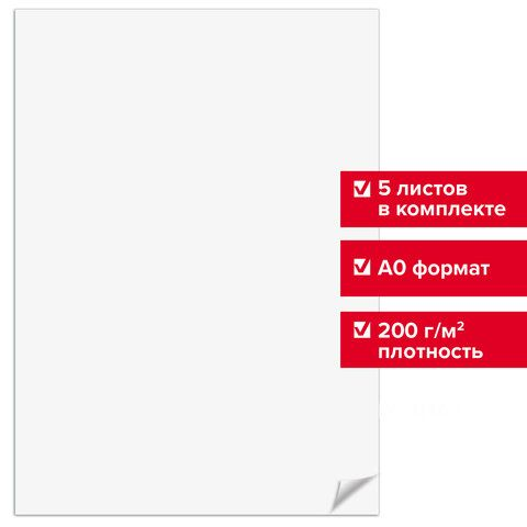 Ватман формат А0 (1200 х 840 мм), ГОЗНАК С-Пб, плотность 200 г/м2, КОМПЛЕКТ 5 листов, BRAUBERG, 126310