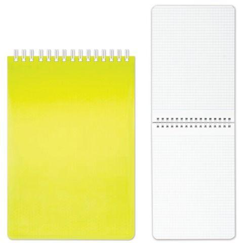 "Блокнот А5 (145х205 мм), 80 л., гребень, пластиковая обложка, клетка, HATBER, ""DIAMOND"", желтый, 80Б5B1гр_02037, B165645"