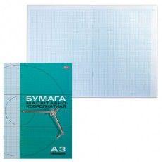 Бумага масштабно-координатная, А3, 295х420 мм, голубая, на скобе, 8 листов, HATBER, 8Бм3_02285