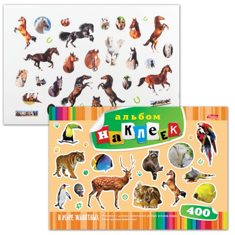 """Альбом наклеек, А4, 12 л., HATBER, 400 наклеек, """"В мире животных"""", 12Ан4 12640, O162293"""