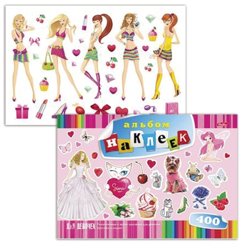 "Альбом наклеек, А4, 12 л., HATBER, 400 наклеек, ""Для девочек"", 12Ан4 12638, O162279"