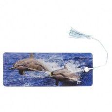 """Закладка для книг с линейкой, 3D-объемная, BRAUBERG """"Дельфины"""", с декоративным шнурком, 128094"""