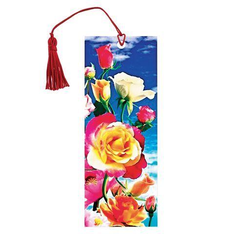 """Закладка для книг с линейкой, 3D-объемная, BRAUBERG """"Розы"""", с декоративным шнурком, 128100"""
