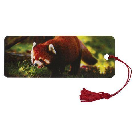 """Закладка для книг с линейкой, 3D-объемная, BRAUBERG """"Красная панда"""", с декоративным шнурком, 128103"""