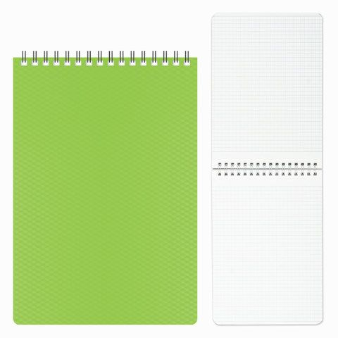 "Блокнот А5 (145х205 мм), 80 л., гребень, пластиковая обложка, клетка, HATBER, ""DIAMOND"", зеленый, 80Б5B1гр, B165652"