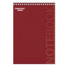 Блокнот БОЛЬШОЙ ФОРМАТ (200х290 мм) А4, 80 л., гребень, картон, жесткая подложка, клетка, ОФИСМАГ, красный, 129864