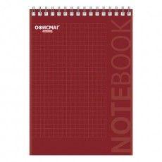 Блокнот А5 (146х205 мм), 80 л., гребень, картон, подложка, клетка, ОФИСМАГ, красный, 129869
