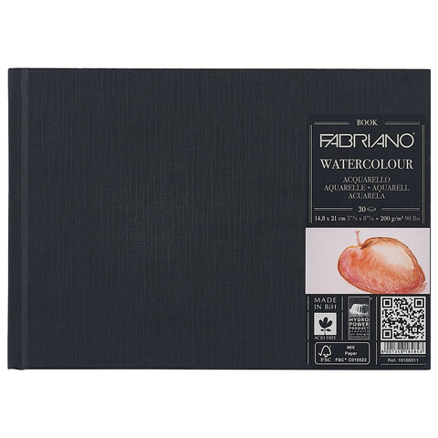 "Блокнот для акварели FABRIANO ""Watercolourbook"" среднее зерно, 30 л., 200 г/м2, А5, 148х210 мм, 19100011"