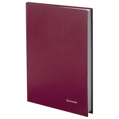 Книга учета 96 л., клетка, твердая, бумвинил, блок офсет, А4 (200х290 мм), BRAUBERG, бордовая, 130224