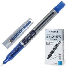 "Ручка-роллер ZEBRA ""Zeb-Roller DX5"", СИНЯЯ, корпус серебристый, узел 0,5 мм, линия письма 0,3 мм, EX-JB2-BL, EX-JB4-BL"