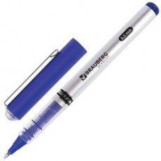 """Ручка-роллер BRAUBERG """"Flagman"""", СИНЯЯ, корпус серебристый, хромированные детали, узел 0,5 мм, линия письма 0,3 мм, 141556"""