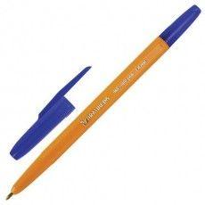 """Ручка шариковая BRAUBERG """"Carina Orange"""", СИНЯЯ, корпус оранжевый, узел 1 мм, линия письма 0,5 мм, 141668"""