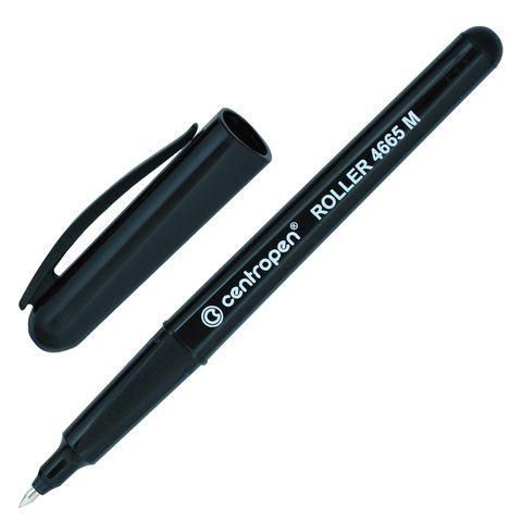 Ручка-роллер CENTROPEN, ЧЕРНАЯ, трехгранная, корпус черный, узел 0,7 мм, линия письма 0,6 мм, 4665, 3 4665 0112