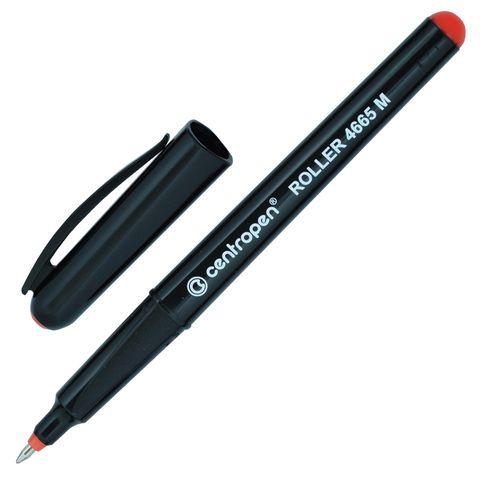 Ручка-роллер CENTROPEN, КРАСНАЯ, трехгранная, корпус черный, узел 0,7 мм, линия письма 0,6 мм, 4665/1К