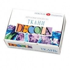 "Краски по ткани акриловые ""Декола"", 6 цветов по 20 мл, в баночках, 4141025"