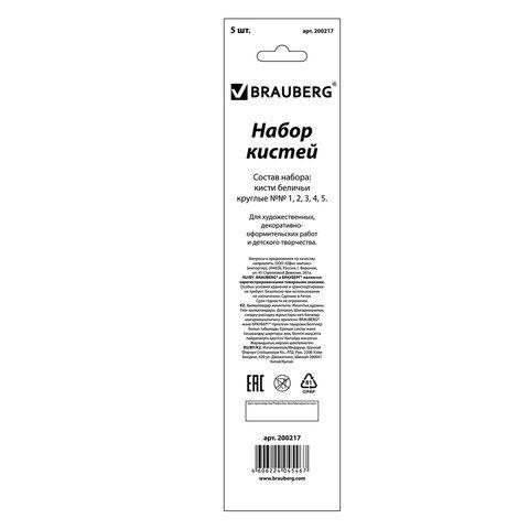 Кисти BRAUBERG, набор 5 шт. (беличья круглая № 1, 2, 3, 4, 5), блистер, 200217