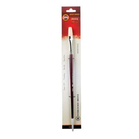 Кисть художественная KOH-I-NOOR щетина, плоская, №8, длинная ручка, блистер, 9936008014BL
