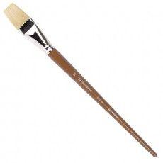Кисть художественная профессиональная BRAUBERG ART CLASSIC, щетина, плоская, № 30, длинная ручка, 200726