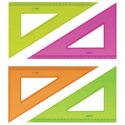 """Треугольник пластиковый 30х23 см, СТАММ """"Neon Crystal"""", тонированный, прозрачный, неоновый, ассорти, ТК54"""