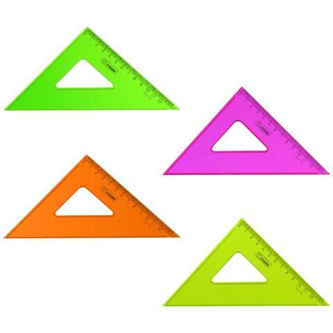 """Треугольник пластиковый 45х12 см, СТАММ """"Neon Crystal"""", тонированный, прозрачный, неоновый, ассорти, ТК44"""